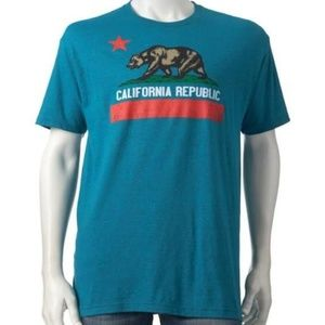 California Republic Grizzly Flag Turquoise Tee (S)